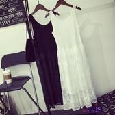 秋冬新款正韓寬鬆女內搭打底裙蕾絲拼接中長款吊帶背心大碼連衣裙