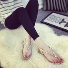 夏季新款夾腳趾涼鞋女平底韓版大碼波西米亞沙灘鞋學生人字拖涼 小艾新品