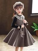 女童禮服女童連身裙 2021   冬裙洋氣兒童毛呢裙公主裙加厚毛衣裙女童上新618