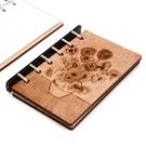 芬多森林|台灣檜木藝術板畫活頁筆記本-向日葵,A7六孔木板雷射雕刻,文青便攜記事本