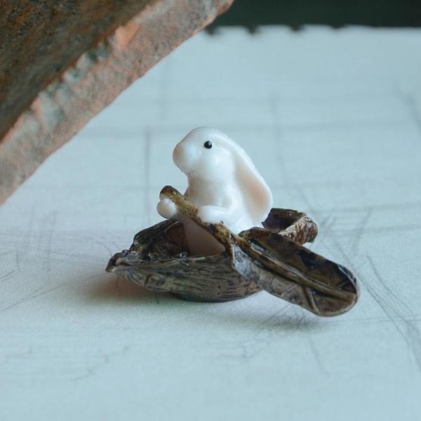 可愛小兔子擺設擺件樹脂田園風格飾品家居裝飾品生日禮物【全館免運限時八五折】
