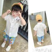 男童襯衫 男童短袖襯衫寶寶夏裝T恤韓版兒童襯衣純棉女童上衣嬰兒打底衫潮 寶貝計畫