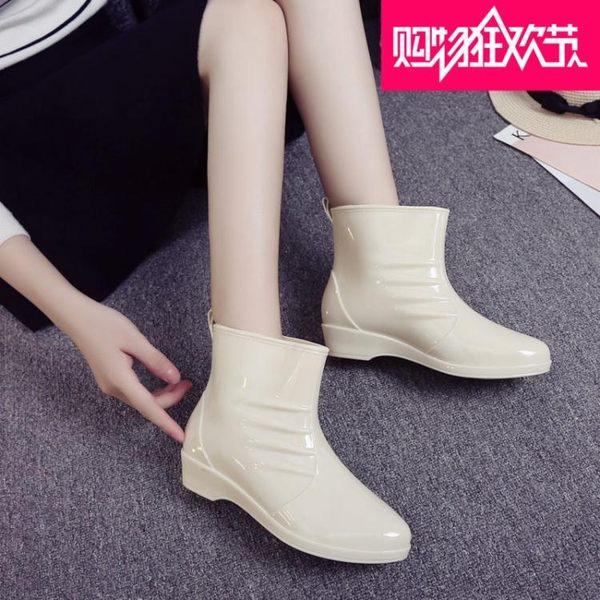韓版可愛甜美時尚潮流女生雨鞋時尚顯瘦舒適套腳防滑加絨馬丁雨靴 後街五號