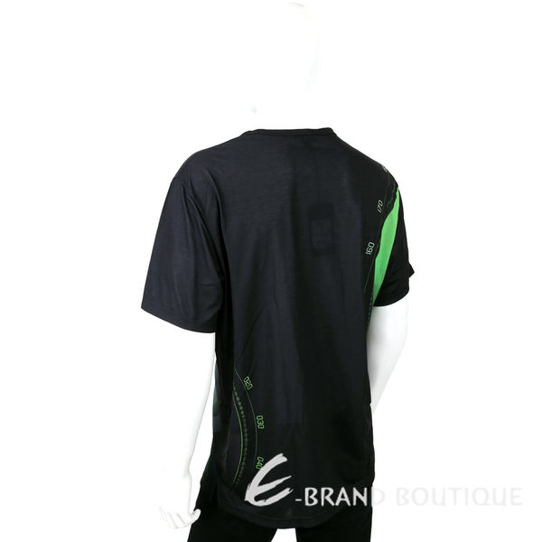Y-3 黑x綠色航線LOGO圖騰短袖T恤 1541004-99