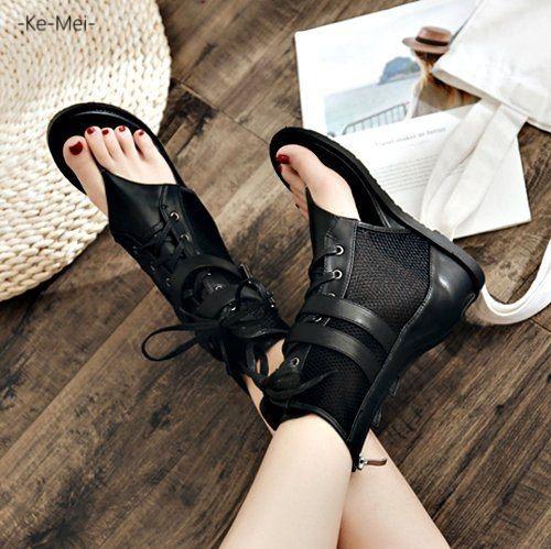 克妹Ke-Mei【ZT65722】歐洲站 辛辣龐克雙皮釦夾腳皮質露指靴