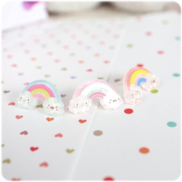 耳環 雨過天晴 - 彩虹雲朵 透明耳針/耳夾 (單只價) i917ღ