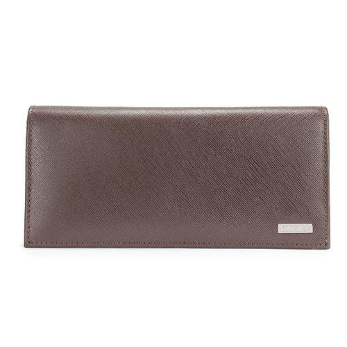 CalvinKlein  經典鐵牌LOGO防刮多卡長夾禮盒(深咖色-含帕巾)103047-1