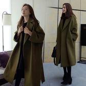 【韓國KW】(預購)冬季新款韓風寬鬆率性長版毛呢外套
