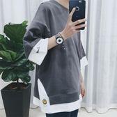夏季刺繡拼接短袖T恤男 韓版寬鬆半袖五分袖 上衣服潮流七分袖 連帽T恤