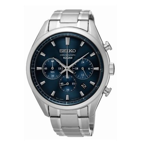 SEIKO CS優雅風格石英計時腕表/藍/8T63-00C0B/SSB223P1
