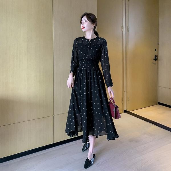 出清388 韓國風名媛優雅印花鬆緊收腰氣質長袖洋裝