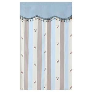 【新作部屋】北歐風簡約質感長門簾(85*150公分)藍咖條紋