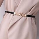 腰鏈 腰封 可調節漆皮珍珠花朵細腰帶女士百搭裝飾連身裙 子毛衣配飾皮帶  店慶降價