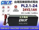 【久大電池】台灣百樂電池 PL2.1-24 24V2.1AH 帶線 (消防受信總機 消防設備 保全 醫療設備)