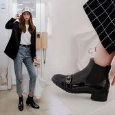 丁果、大尺碼女鞋34-43►韓版明星款扣帶環尖頭中跟切爾西靴馬丁靴短靴子*3色