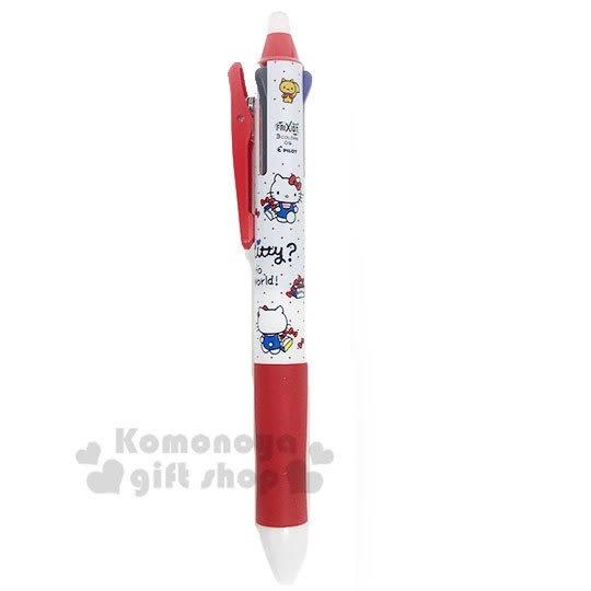 〔小禮堂〕Hello Kitty 日製擦擦多色原子筆《紅白.手提袋》0.5mm.三色筆.多色筆.擦擦筆 4901770-57448