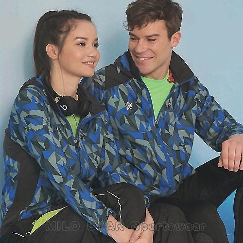 MILD STAR 男女平織網裡運動服套裝[全套]#JS180207+PS180508-藍灰印花