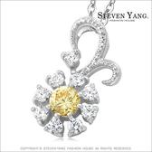 項鍊 正白K飾 「雛菊花語」八心八箭 香檳金 鋯石 單個價格附白K鍊
