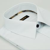 【金‧安德森】經典格紋繞領白色斜紋黑釦吸排窄版長袖襯衫