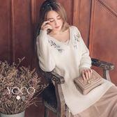 東京著衣【YOCO】唯美空氣感女孩繡花長版針織衫-S.M.L(171977)