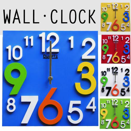 掛鐘/時鐘 兒童立體彩色數字時鐘 方款 顯示光陰刻度 靜音走針 ☆匠子工坊☆【UC0030】
