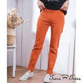 【Tiara Tiara】激安 休閒風彈性貼身色褲長褲(淺卡/藍/綠/橘)