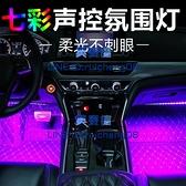 汽車氛圍燈車內腳底led燈車載USB七彩音樂裝飾燈【英賽德3C數碼館】