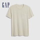 Gap男裝 復古水洗圓領短袖T恤 440773-米色