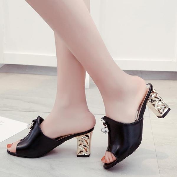魚口鞋 魚嘴鞋 高跟 新款韓版 水鑽魚嘴涼鞋室外穿中跟百搭一字拖