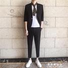 夏季韓版休閒西服套裝中袖外套英倫風男士帥氣韓版修身西裝兩件套【果果新品】