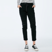 Victoria 黑色特彈鬆緊腰丹寧牛仔BF褲-女-黑-VW5091
