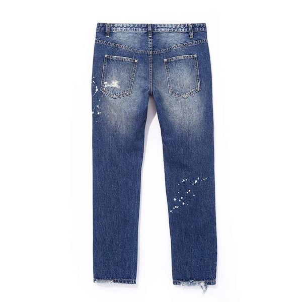 破壞割破中筒牛仔褲 STAGE  REGULAR RIPPED JEANS 黑色/深藍色 兩色