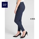 Gap女裝 高腰側拉鏈塑形緊身九分牛仔褲 375405-水洗色