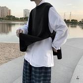 毛織背心男秋季大碼寬鬆情侶款針織毛衣百搭素色外穿馬甲【愛物及屋】