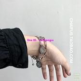 層次感手鏈黑暗風雙層手鏈鈦鋼鏈條手飾【樹可雜貨鋪】