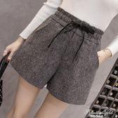 新款韓版學生毛呢短褲女外穿高腰褲闊腿褲加厚靴褲 果果輕時尚