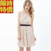 洋裝-無袖復古典雅時尚點點輕盈雪紡連身裙2色67m13【巴黎精品】