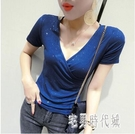 2020夏裝新款性感交叉V領T恤女短袖修身顯瘦半袖體恤短款緊身上衣 LF4320【宅男時代城】