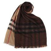 BURBERRY 經典格紋漸層色羊毛絲綢圍巾(深駝色)089530-11
