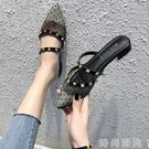 尖頭單鞋網紅拖鞋女2019夏低跟半拖鞋淺口波點網紗蕾絲鉚釘穆勒鞋 時尚潮流