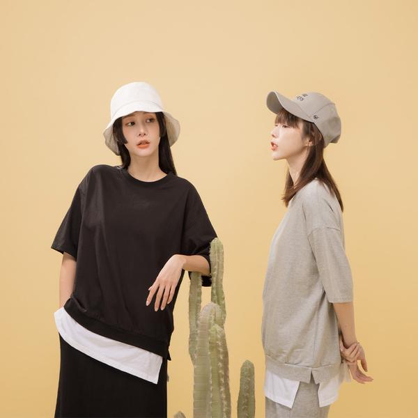 Queen Shop【01097006】素面圓領落肩假兩件式上衣 兩色售*現+預*