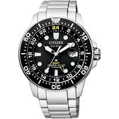 CITIZEN 星辰 限量 鈦 GMT光動能潛水錶-黑x銀/43mm BJ7110-89E