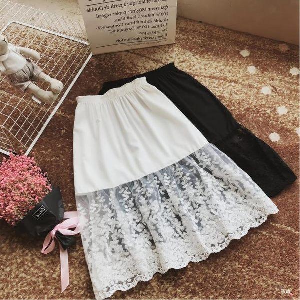 售完即止-新款蕾絲打底裙內搭半身裙中長版女拼接內襯裙網紗裙8-23(庫存清出T)