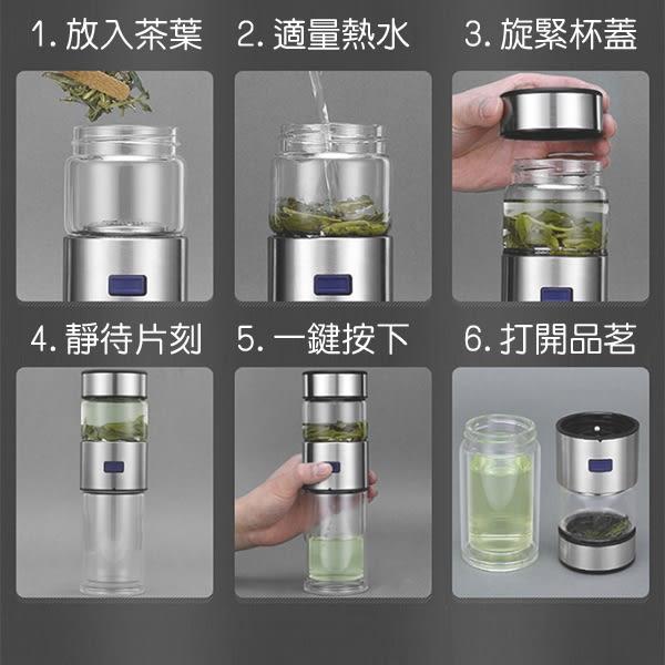 【coni shop】KAXIFEI卡西菲 茶水分離雙層玻璃杯  耐冷耐熱 304不鏽鋼 茶葉濾網 食品級矽膠