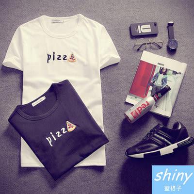 【Y051】shiny藍格子-修身比例.夏季韓版pizz字母圖案圓領短袖T恤