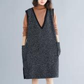 金蔥V領針織背心洋裝-大尺碼 獨具衣格 J2368