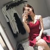 時尚氣質顯瘦禮服性感夜店女裝潮露背吊帶抹胸洋裝 交換禮物
