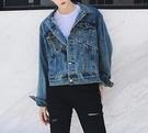 FINDSENSE Z1 韓國 時尚 潮 男 特殊拼接 短款 藍色 牛仔外套