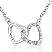 925純銀項鍊 鑲鑽-唯一真愛愛心生日情人節禮物女墜飾73v86【巴黎精品】