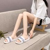 拖鞋女2020新款反光夏天網紅ins情侶拖厚底中跟港風外穿超火涼拖